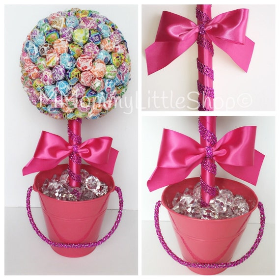 Hot pink lollipop topiary theme candy by mmommylittleshop