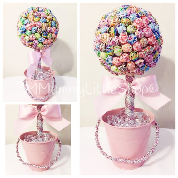 Large pink lollipop topiary theme candy by
