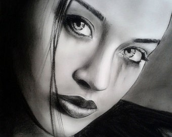 Charcoal portrait pencil drawing portrait custom drawing gift ideas pencil art realism from photo