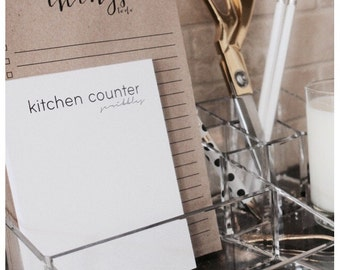 Kitchen Notepad - White Notepad, Modern Notepad, Grocery List, Notes