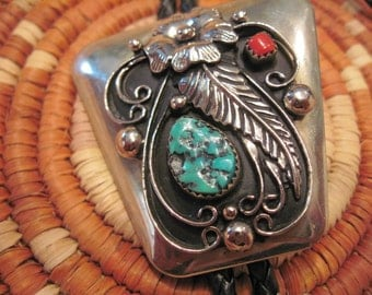 Turquoise and Coral Bolo - Signed by Maker - Outstanding Item!!