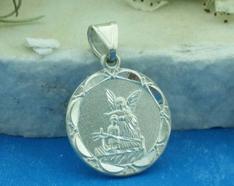 Sterling Silver Guardian Angel Medal, Silver Guardian Angel Charm, Silver Angel, Angel de la Guarda,
