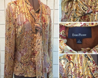 Beautiful paisley and stripe - tie neck, button down blouse, ladies small