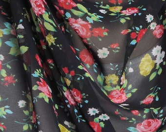 Black & Red Floral Print Chiffon Scarf / Summer Scarf / Autumn Scarf / Gift for Her / Womens Scarves / Fashion Accessory / Party Wrap / Fall