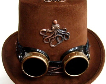 BRCH0006 Brown Coachman's Top Hat with Octopus up front and Goggles