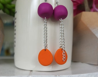 Magenta and Orange Drop Earrings