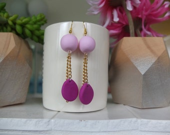 Pink and Magenta Drop Earrings