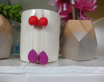 Red and Magenta Drop Earrings