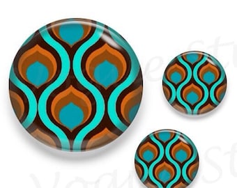 Retro Wave Pattern Aqua Brown Glass Round Cabochon 1 x 25mm / 2 x 12mm
