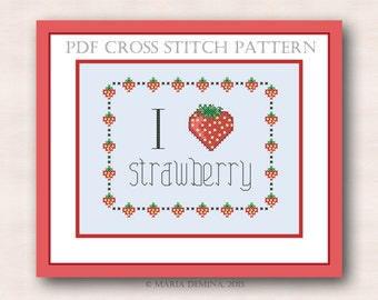 I love Strawberry PDF cross stitch pattern / instant download