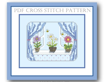 May window PDF cross stitch pattern / instant download; real stitched picture available