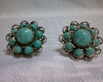 Vintage Faux Turquoise and Filigree Screw Back Earrings