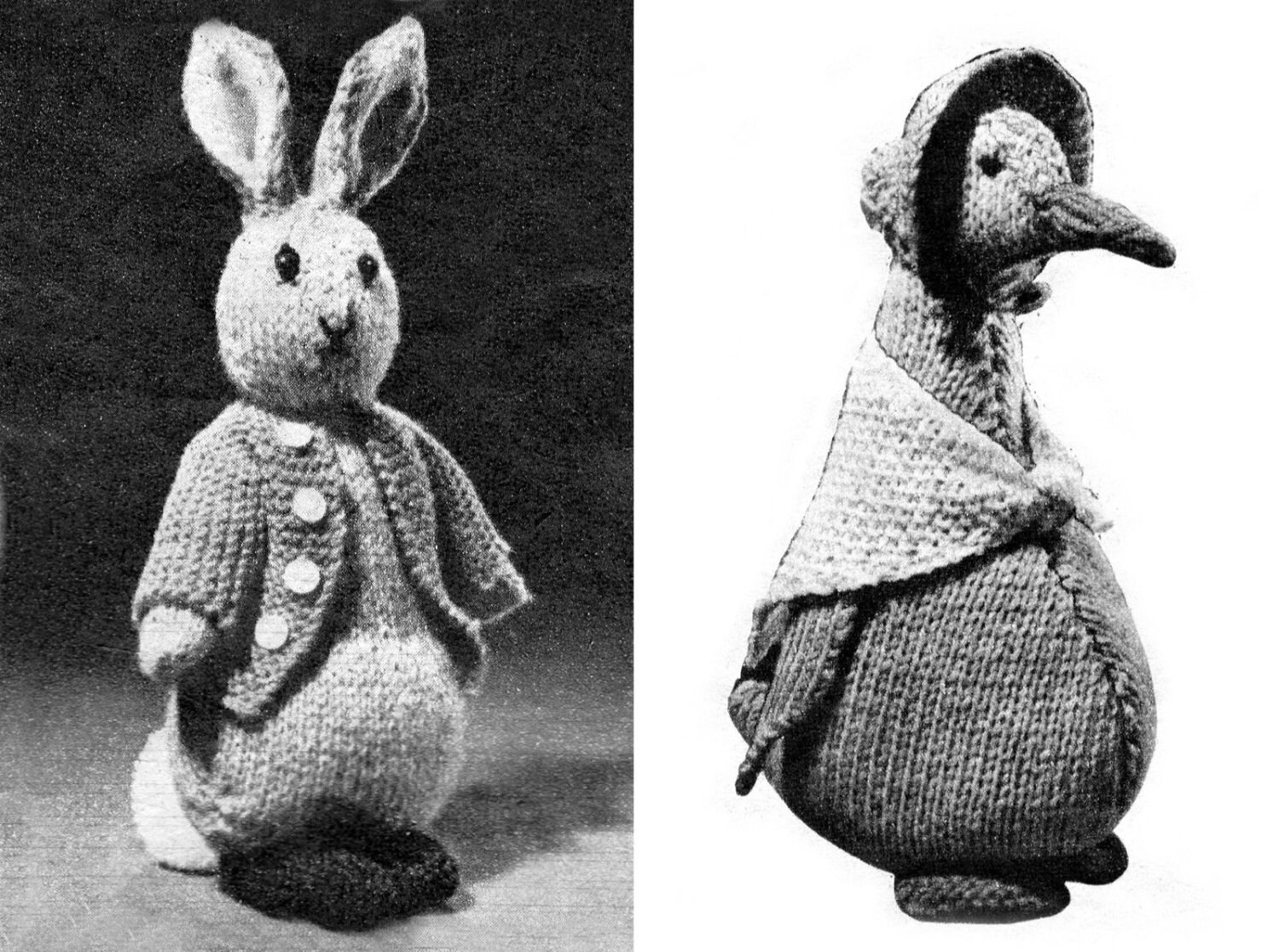 Knitting Pattern For Jemima Puddle Duck : PDF Peter Rabbit Jemima Puddle Duck Knitting Patterns Rare