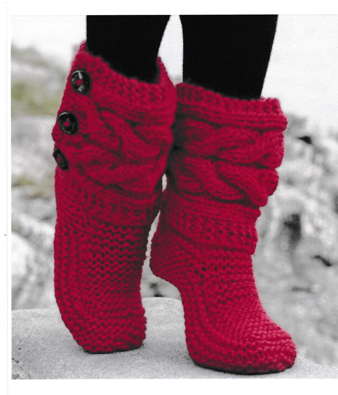 Bed Socks Knitting Pattern : PDF Vintage Bed Socks Knitting Pattern Vintage Retro Bed