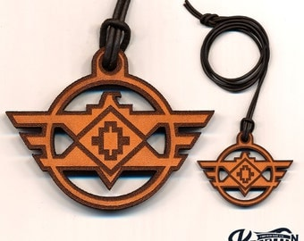 Laser Cut Leather Necklace and Keychain - Eagle