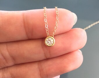 SALE! Tiny Dainty Diamond Necklace,Tiny Diamond Necklace,Tiny CZ Necklace,gold necklace,Bridesmaids Gift,mothers gift,minimalist