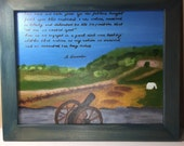 Gettysburg Address. Folk art Memorial day view of Culp's Hill featuring hand painted portion of Gettysburg address 11X14 acrylic.