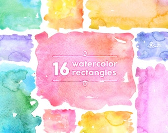 Watercolor Rectangles Clipart: 16 Digital files. Hand painted, brush strokes, splodge, pools, splotch, abstract watercolour, background