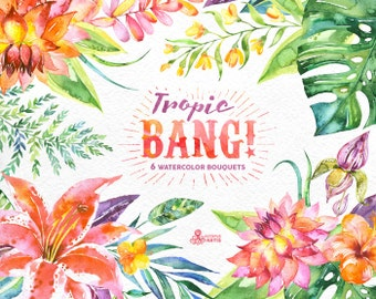 Tropic Bang Bouquets: 6 Watercolor Bouquets, lily, hibiscus, orchids, wedding invitation, floral, beach, greetings, diy clip art, flowers
