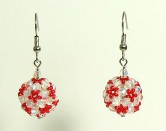 Red Flower Beaded Ball Earrings