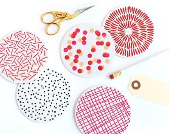 Pattern Letterpress Coaster Set