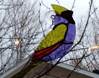 Oiseau de vitrail, Violet, vert lime et fuchsia.