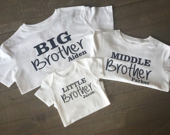 Personalized Big Middle and Little Brother Shirt Set