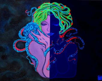 "Sapphire Skies- 16"" x 20""  Acrylic, Blacklight, 3D Glow in the Dark, gallery Wrapped Painting"