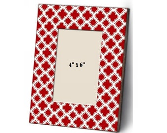 Shabby Chic Red & White Wood Picture Frames