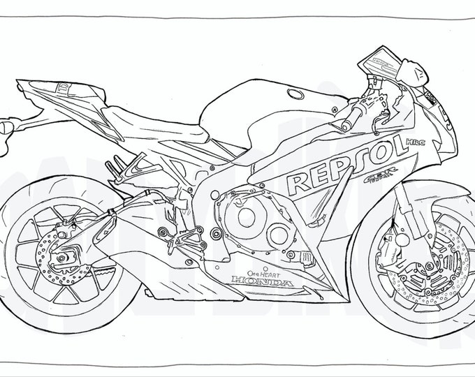 Adult Colouring Page - Motorcycle Illustration - Motorcycle Coloring - Honda CBR 1000RR