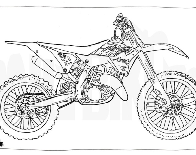Adult Colouring Page - Motorcycle Illustration - Motorcycle Coloring - KTM 125SX Enduro