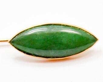 Vintage 18 Karat Gold Chinese Jade Stick Pin Signed