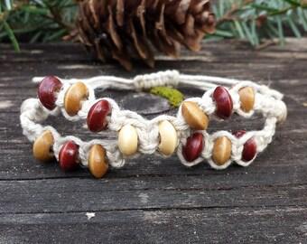 Natural Wood Beads Hemp Bracelet