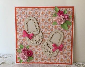 Handmade New Baby, Baby Girl, Congratulations New Baby Card