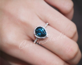 Pear Natural London Blue Topaz Ring Engagement Ring/ Wedding Ring 925 Sterling Silver Ring White Gold Plated Anniversary Ring