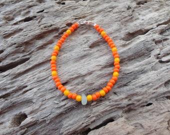 White Sea Glass Sunburst Bracelet