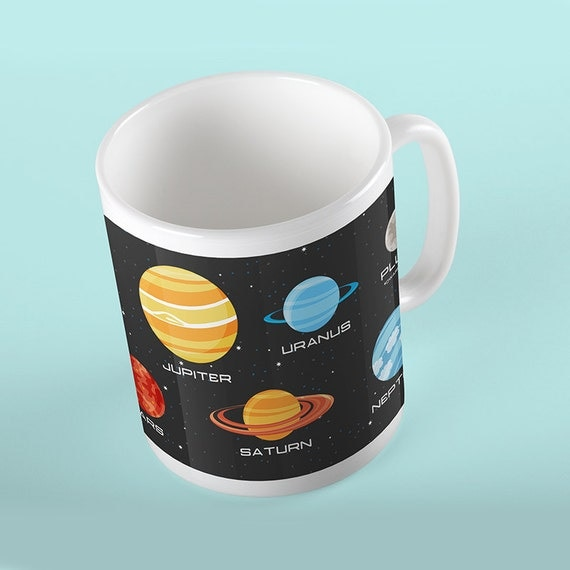 Coffee Mug Space Planets Mug Astronomy Lovers Mug For Kids - Customize with Name