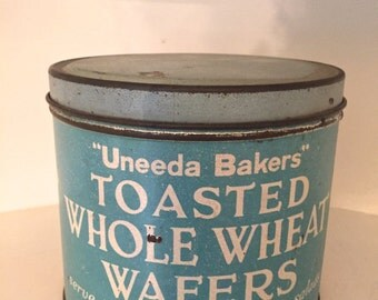 Uneeda Baker (National Biscuit Company) toasted whole wheat wafers blue vintage tin