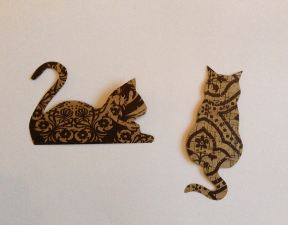 5 Cat Cut Outs, Cat Shapes, Cat Cardboard, Black, Pattern