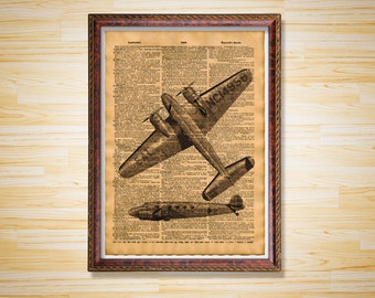 Steampunk poster Airplane dictionary page Antique print