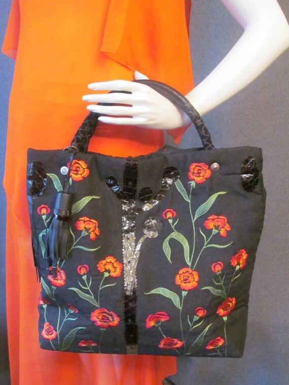 Black handbag with fabric and leather. Black handbag. red flowers  and green leaf Embroider y handbag. Boho black handbag.  ready to ship