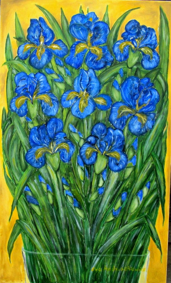 Irises. Flowers oil painting.  Large oil painting, original oil painting.  Colours; blue, green, black, yellow. ready to ship