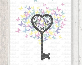 You're the Key to My Heart, Clipart, Love Illustration, Butterfly, Wedding Tree Clip Art, For Personal or Commercial Use [Instant Download]