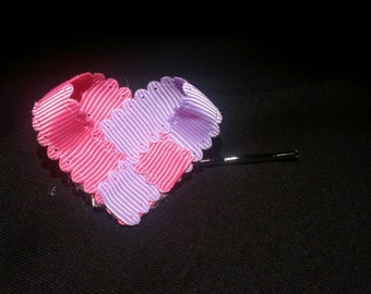Pink and purple heart on bobby pin