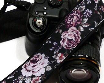 Roses Camera Strap. Black and Purple Camera Strap. Personalized Camera Strap. Canon Nikon Camera Strap. Photo Camera Accessories