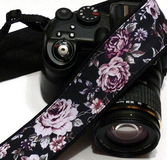 Roses Camera Strap. Black and Purple Camera Strap. Canon Nikon Camera Strap. Photo Camera Accessories