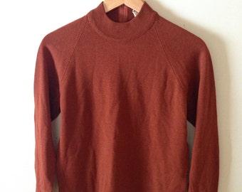 1940's Pure Virgin Wool mock neck LS shirt