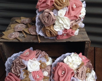Beautiful rustic Hessian, silk and lace bouquets and button holes, made to order