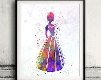Anna - Frozen - 8x10 in. to 12x16 in. Fine Art Print Glicee Disney Poster Watercolor Nursery Room Children's Art Illustration - SKU 1057