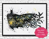 Batman 8 Watercolor Print Batman print Black Yellow Wall Hanging Giclee print Super hero art Movie poster Batman Illustration Home Decor